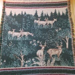 Crown Crafts Vintage Woven Throw Blanket Deer